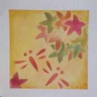 とんぼ、紅葉、パステル和アートで彩り麗しい