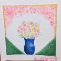 パステル和アート準インストラクター養成講座 を再受講 愛情(花瓶の花)